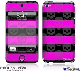 iPod Touch 4G Decal Style Vinyl Skin - Skull Stripes Pink