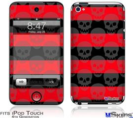 iPod Touch 4G Decal Style Vinyl Skin - Skull Stripes Red