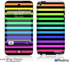 iPod Touch 4G Decal Style Vinyl Skin - Stripes Rainbow