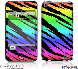 iPod Touch 4G Decal Style Vinyl Skin - Tiger Rainbow