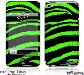 iPod Touch 4G Decal Style Vinyl Skin - Zebra Green