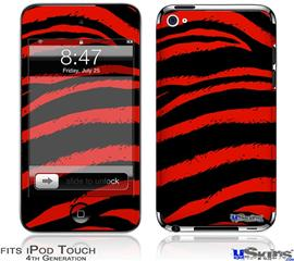 iPod Touch 4G Decal Style Vinyl Skin - Zebra Red