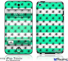 iPod Touch 4G Decal Style Vinyl Skin - Kearas Daisies Stripe Sea Foam