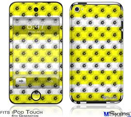 iPod Touch 4G Decal Style Vinyl Skin - Kearas Daisies Stripe Yellow