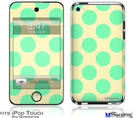 iPod Touch 4G Decal Style Vinyl Skin - Kearas Polka Dots Green On Cream