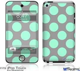 iPod Touch 4G Decal Style Vinyl Skin - Kearas Polka Dots Mint And Gray