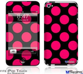 iPod Touch 4G Decal Style Vinyl Skin - Kearas Polka Dots Pink On Black