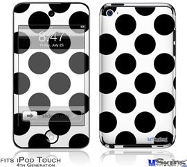 iPod Touch 4G Decal Style Vinyl Skin - Kearas Polka Dots White And Black