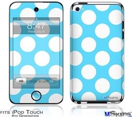 iPod Touch 4G Decal Style Vinyl Skin - Kearas Polka Dots White And Blue