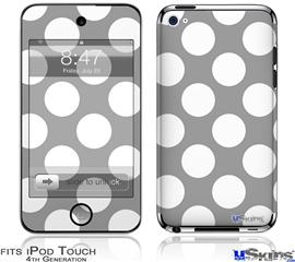 iPod Touch 4G Decal Style Vinyl Skin - Kearas Polka Dots Whtie On Gray