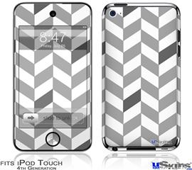 iPod Touch 4G Decal Style Vinyl Skin - Chevrons Gray And Charcoal