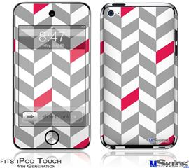 iPod Touch 4G Decal Style Vinyl Skin - Chevrons Gray And Raspberry