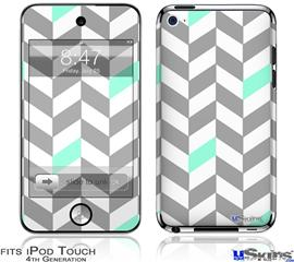 iPod Touch 4G Decal Style Vinyl Skin - Chevrons Gray And Seafoam
