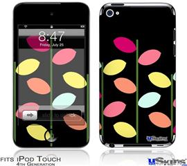 iPod Touch 4G Decal Style Vinyl Skin - Plain Leaves On Black