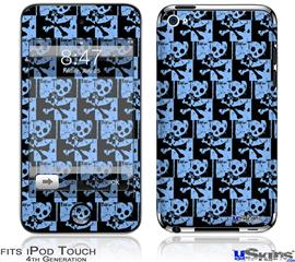 iPod Touch 4G Decal Style Vinyl Skin - Skull Checker Blue