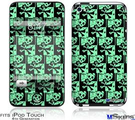 iPod Touch 4G Decal Style Vinyl Skin - Skull Checker Green