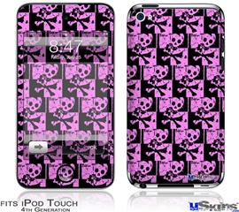 iPod Touch 4G Decal Style Vinyl Skin - Skull Checker Pink
