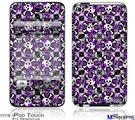 iPod Touch 4G Decal Style Vinyl Skin - Splatter Girly Skull Purple
