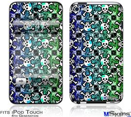 iPod Touch 4G Decal Style Vinyl Skin - Splatter Girly Skull Rainbow