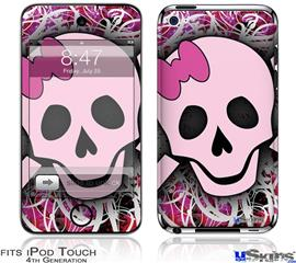 iPod Touch 4G Decal Style Vinyl Skin - Pink Skull