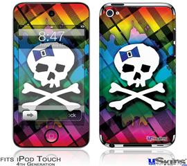 iPod Touch 4G Decal Style Vinyl Skin - Rainbow Plaid Skull