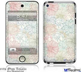 iPod Touch 4G Decal Style Vinyl Skin - Flowers Pattern 02
