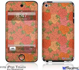 iPod Touch 4G Decal Style Vinyl Skin - Flowers Pattern Roses 06