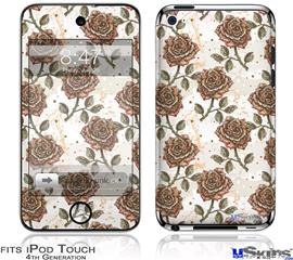 iPod Touch 4G Decal Style Vinyl Skin - Flowers Pattern Roses 20