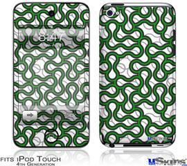 iPod Touch 4G Decal Style Vinyl Skin - Locknodes 01 Green