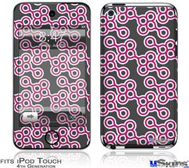 iPod Touch 4G Decal Style Vinyl Skin - Locknodes 02 Hot Pink (Fuchsia)