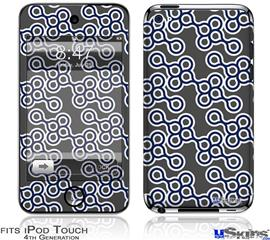 iPod Touch 4G Decal Style Vinyl Skin - Locknodes 02 Navy Blue