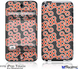 iPod Touch 4G Decal Style Vinyl Skin - Locknodes 02 Red
