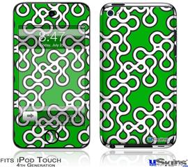 iPod Touch 4G Decal Style Vinyl Skin - Locknodes 03 Green