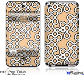 iPod Touch 4G Decal Style Vinyl Skin - Locknodes 03 Peach