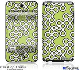 iPod Touch 4G Decal Style Vinyl Skin - Locknodes 03 Sage Green