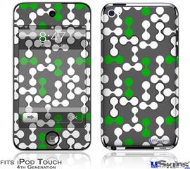 iPod Touch 4G Decal Style Vinyl Skin - Locknodes 04 Green