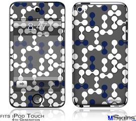 iPod Touch 4G Decal Style Vinyl Skin - Locknodes 04 Navy Blue