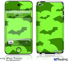 iPod Touch 4G Decal Style Vinyl Skin - Deathrock Bats Green