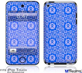 iPod Touch 4G Decal Style Vinyl Skin - Gothic Punk Pattern Blue