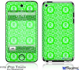 iPod Touch 4G Decal Style Vinyl Skin - Gothic Punk Pattern Green