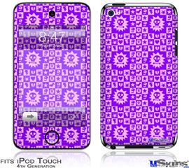 iPod Touch 4G Decal Style Vinyl Skin - Gothic Punk Pattern Purple