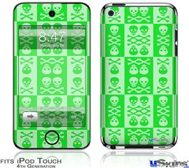iPod Touch 4G Decal Style Vinyl Skin - Skull And Crossbones Pattern Green