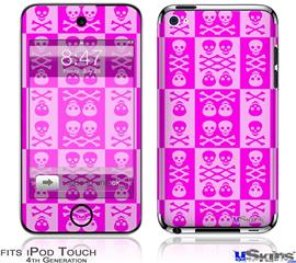 iPod Touch 4G Decal Style Vinyl Skin - Skull And Crossbones Pattern Pink
