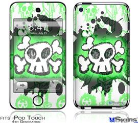 iPod Touch 4G Decal Style Vinyl Skin - Cartoon Skull Green