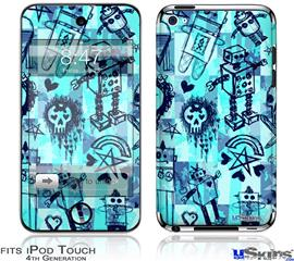 iPod Touch 4G Decal Style Vinyl Skin - Scene Kid Sketches Blue