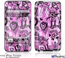 iPod Touch 4G Decal Style Vinyl Skin - Scene Kid Sketches Pink
