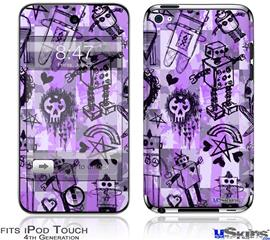 iPod Touch 4G Decal Style Vinyl Skin - Scene Kid Sketches Purple