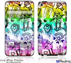 iPod Touch 4G Decal Style Vinyl Skin - Scene Kid Sketches Rainbow