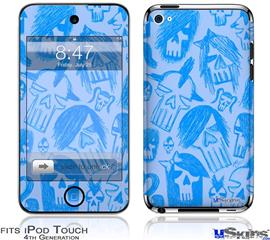 iPod Touch 4G Decal Style Vinyl Skin - Skull Sketches Blue