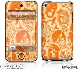 iPod Touch 4G Decal Style Vinyl Skin - Skull Sketches Orange